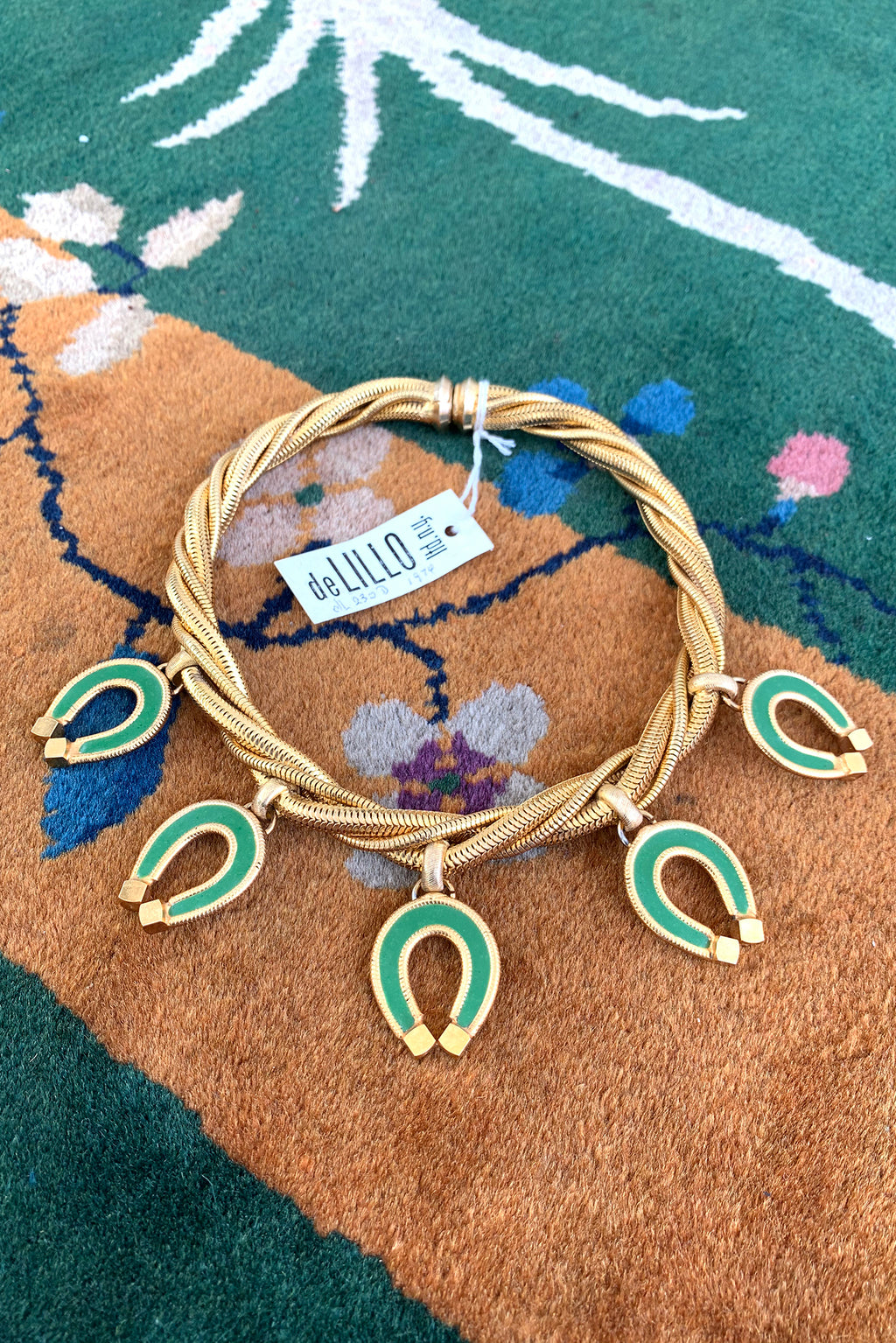 Vintage William de Lillo Lucky Horseshoe Charm Collar Necklace at Recess Los Angeles