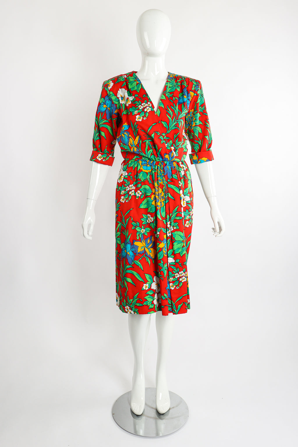 Vintage Yves Saint Laurent YSL Floral Sateen Wrap Dress on Mannequin Front at Recess LA
