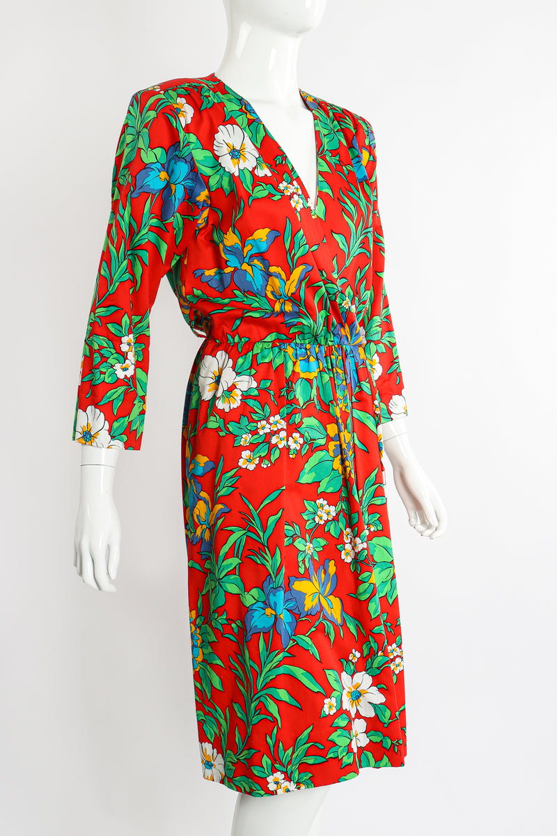 Vintage Yves Saint Laurent YSL Floral Sateen Wrap Dress on Mannequin Crop at Recess Los Angeles