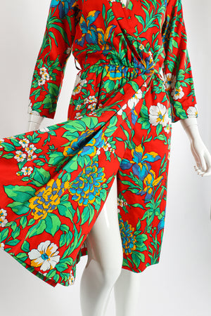 Vintage Yves Saint Laurent YSL Floral Sateen Wrap Dress on Mannequin Opening at Recess LA