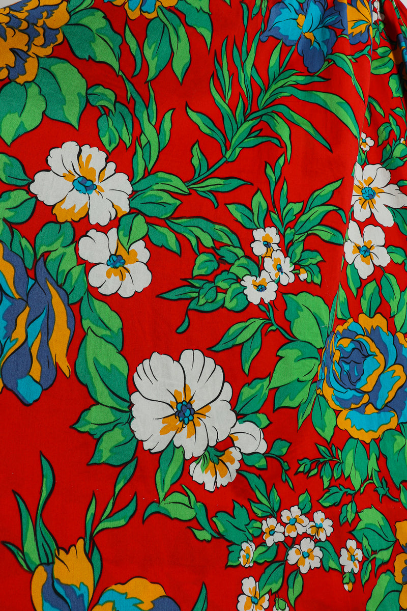 Vintage Yves Saint Laurent YSL Floral Sateen Wrap Dress fabric detail at Recess Los Angeles
