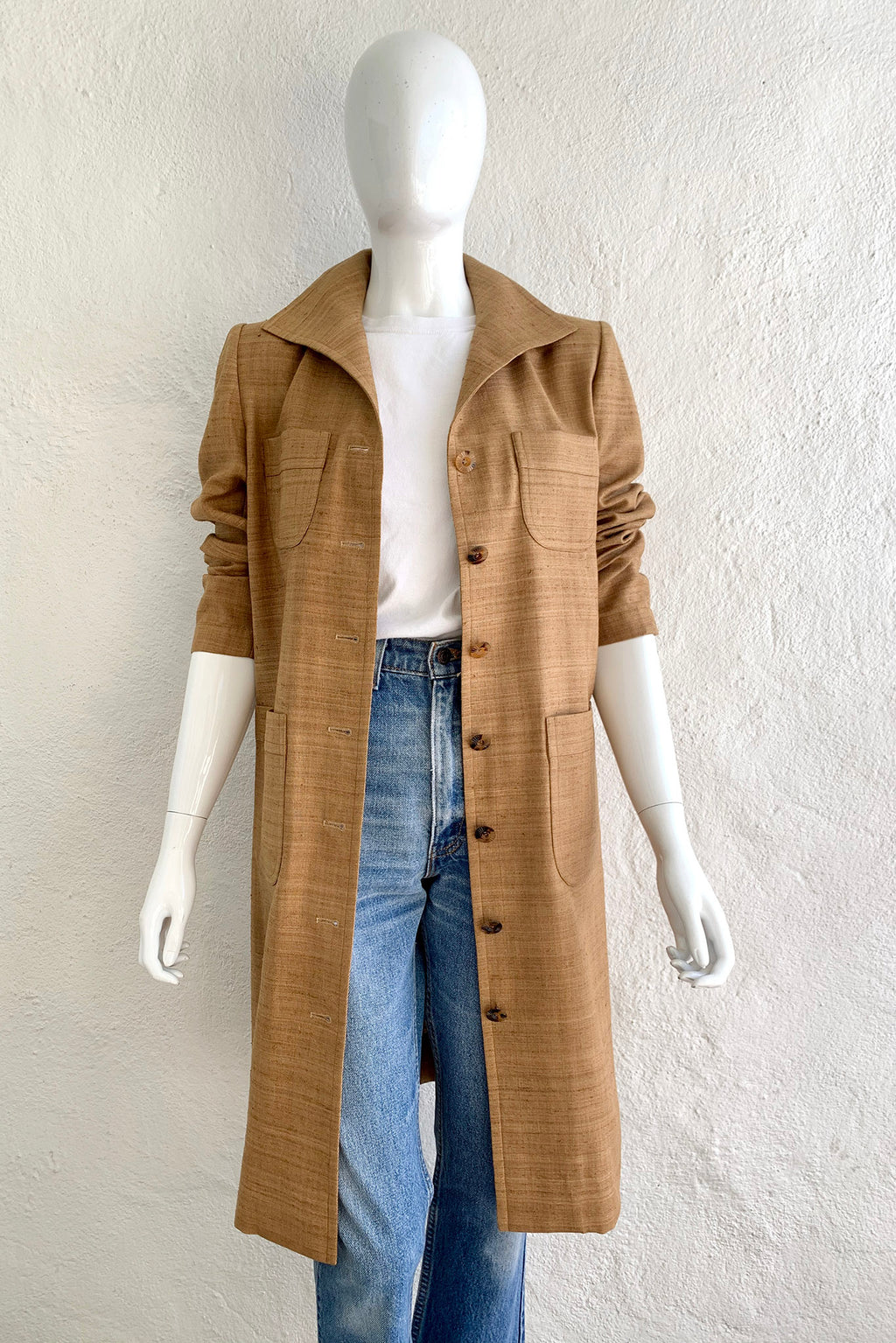 Vintage YSL Yves Saint Laurent Tan Silk Tussah Duster on Mannequin Front Crop at Recess Los Angeles