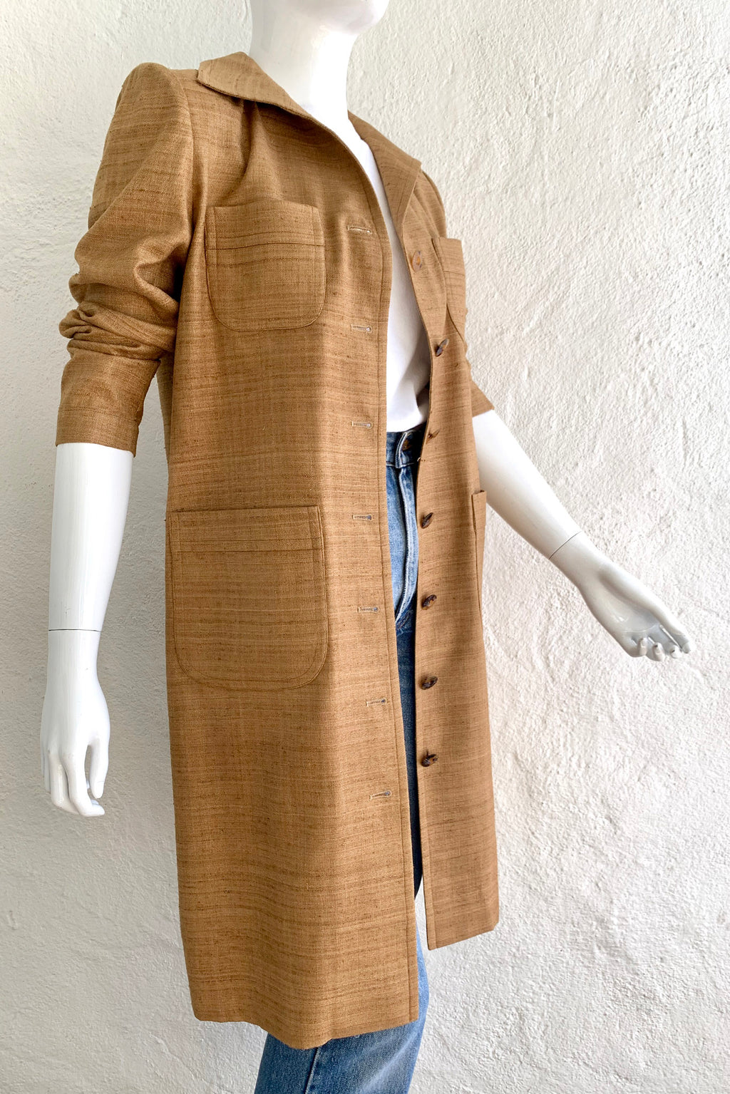 Vintage YSL Yves Saint Laurent Tan Silk Tussah Duster on Mannequin Side Crop at Recess Los Angeles
