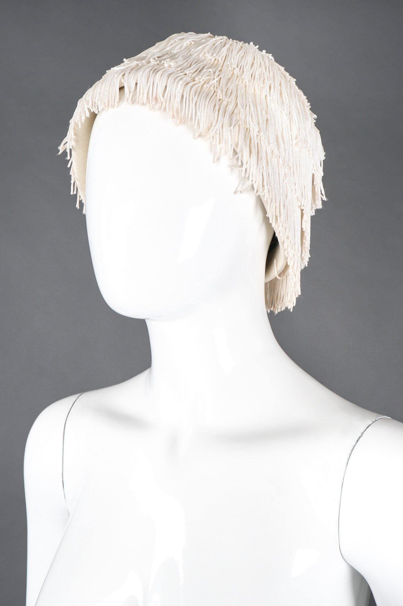 7ca515414102b Vintage YSL Yves Saint Laurent Fringed Cloche Casque Bridal Wedding ...