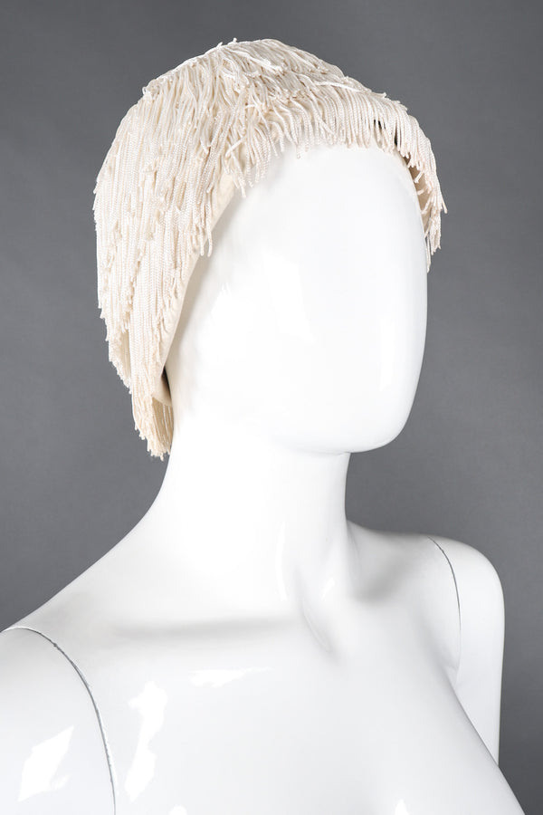 Recess Los Angeles Vintage YSL Yves Saint Laurent Fringed Cloche Casque Bridal Wedding Hat