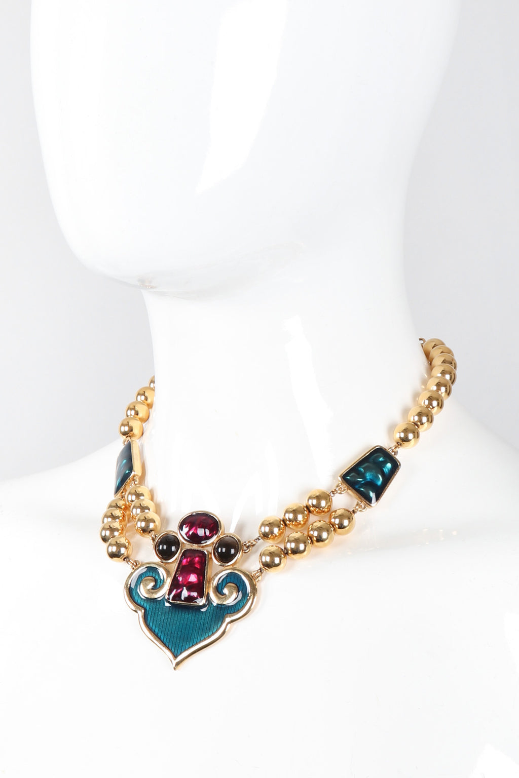 Recess Los Angeles Vintage YSL Yves Saint Laurent Enamel Moroccan Arabesque Necklace and Earring Set