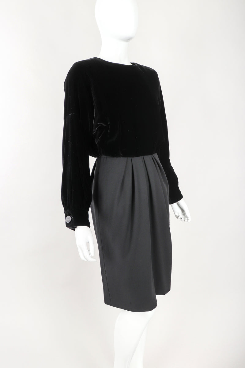 Recess Designer Consignment Vintage Yves Saint Laurent Rive Gauche YSL Velvet Blouson Dolman Dress Los Angeles Resale