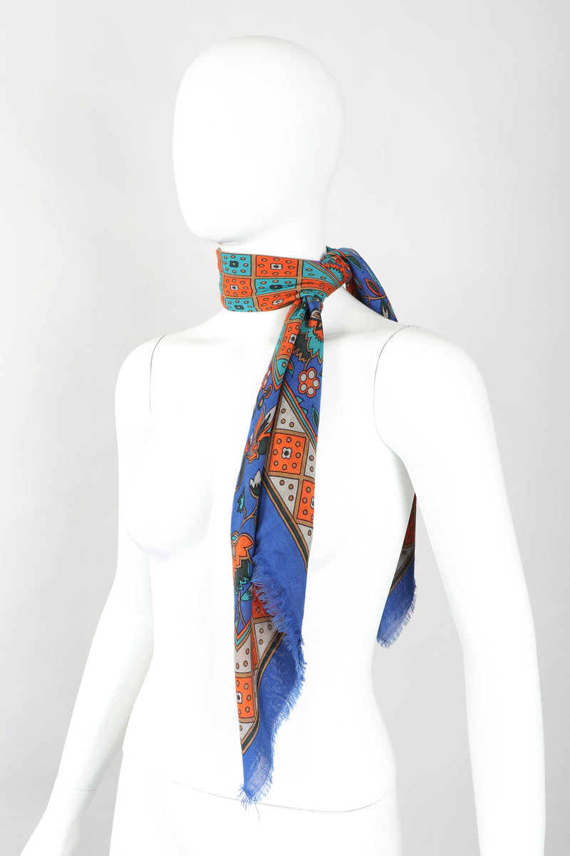 Recess Designer Consignment Vintage Yves Saint Laurent YSL Flourish Folk Russian Collection Silk Scarf Los Angeles Resale