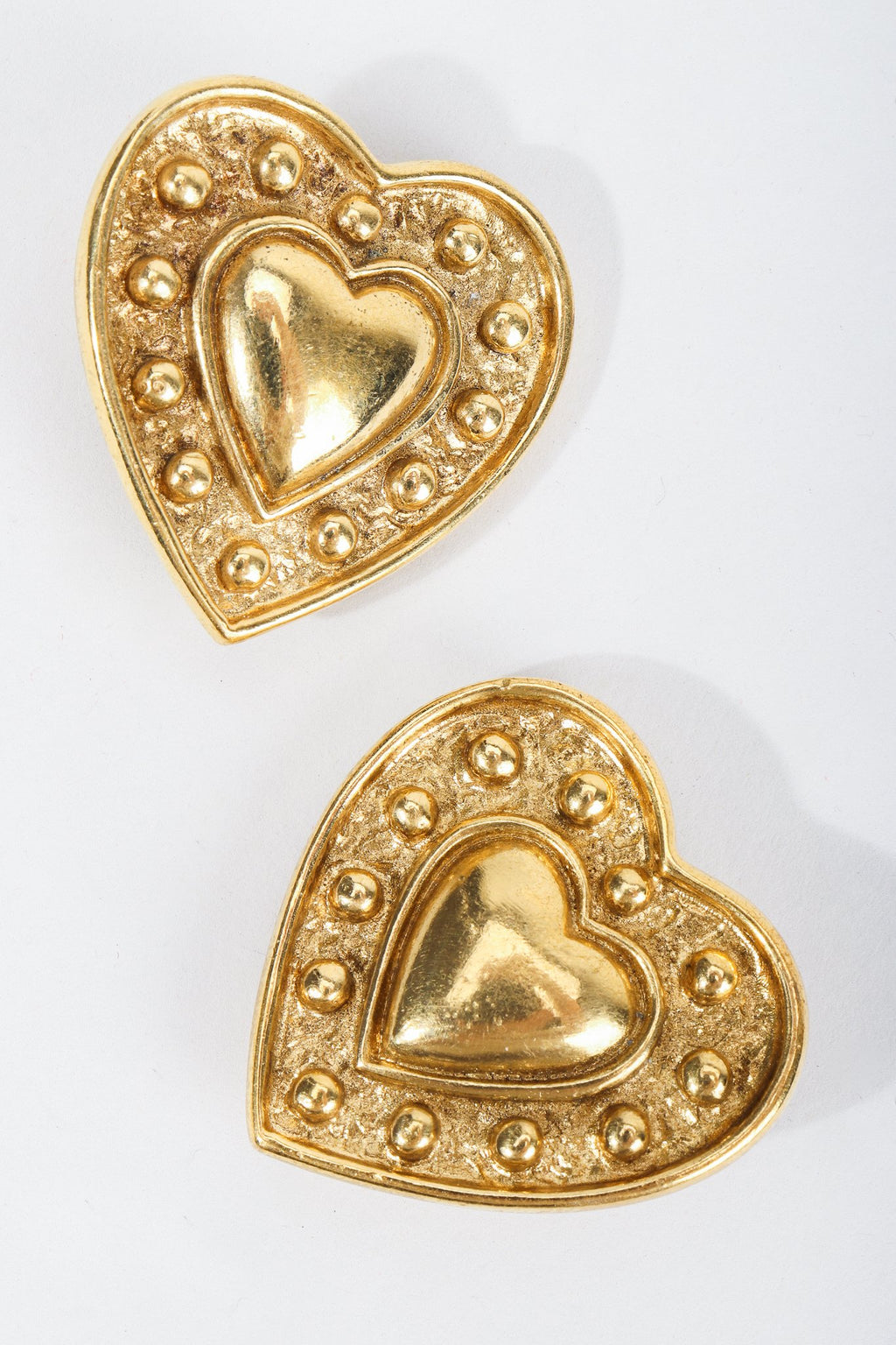 Vintage Yves Saint Laurent Gold Heart Button Clip Earrings at Recess Los Angeles