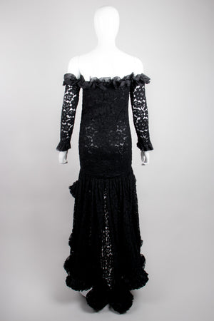 YSL Yves Saint Laurent Rive Gauche Sheer Lace Ruffle Hi-Lo Gown