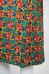 YSL Yves Saint Laurent Bejeweled Jewel Print Scarf Tie Dress