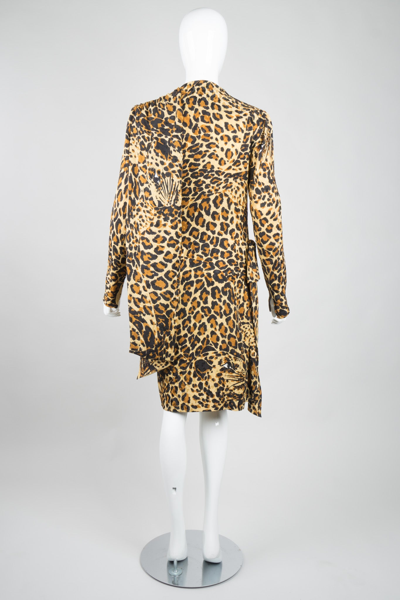 YSL Yves Saint Laurent Silk Leopard Scarf Wrap Dress