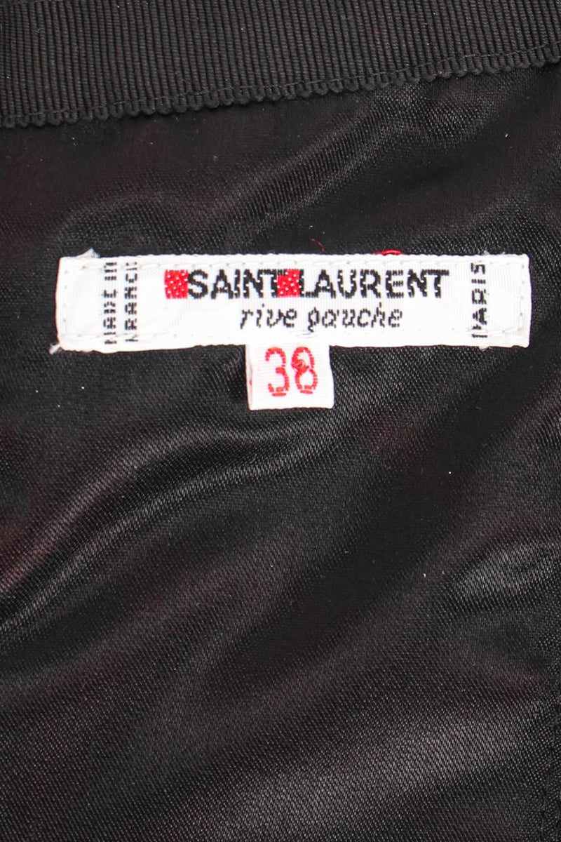 Vintage YSL Yves Saint Laurent Velvet Satin Corset label at Recess Los Angeles