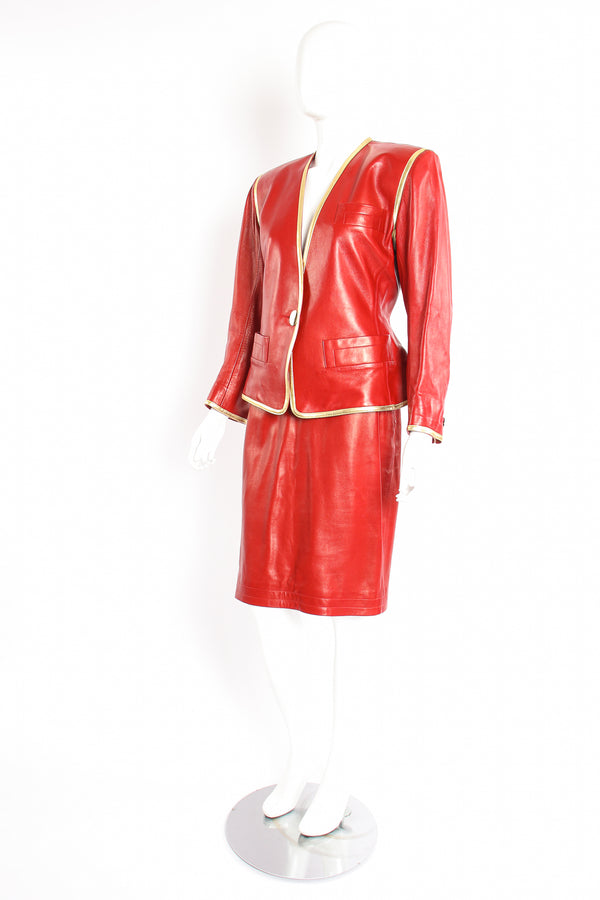 Vintage YSL Yves Saint Laurent 1988 Red Leather Skirt Suit on Mannequin side at Recess LA