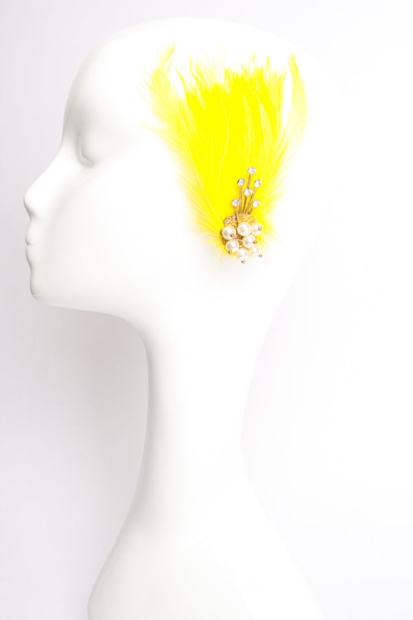 Vintage Les Folies Feather Fan Earrings on Mannequin at Recess Los Angeles