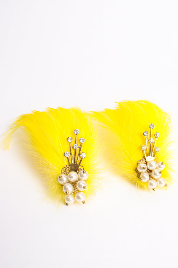 Vintage Les Folies Feather Fan Earrings at Recess Los Angeles