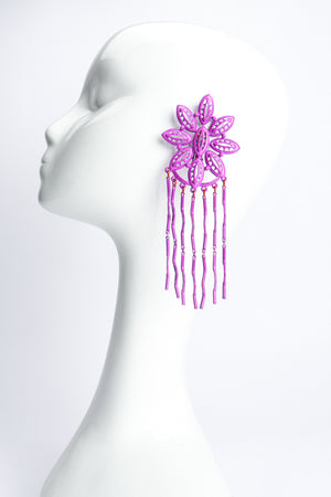 Vintage Yohai Purple Flower Fringe Earring on Mannequin at Recess Los Angeles