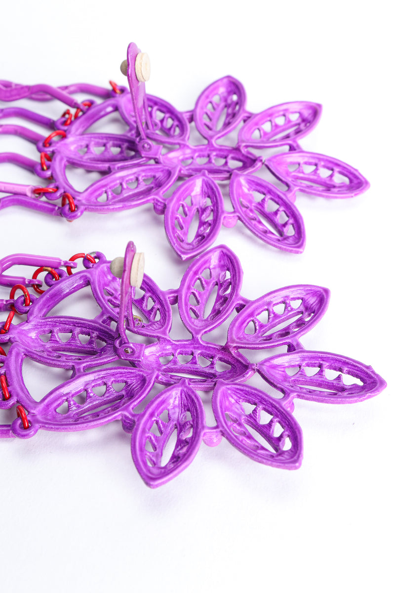 Vintage Yohai Purple Flower Fringe Earring Clip Back at Recess Los Angeles
