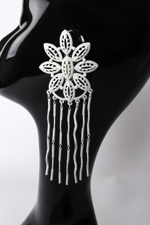 Vintage Yohai White Flower Fringe Earring on Mannequin at Recess Los Angeles