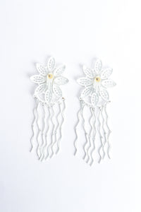 Vintage Yohai White Flower Fringe Earring backside at Recess Los Angeles