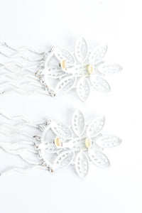 Vintage Yohai White Flower Fringe Earring clip back at Recess Los Angeles
