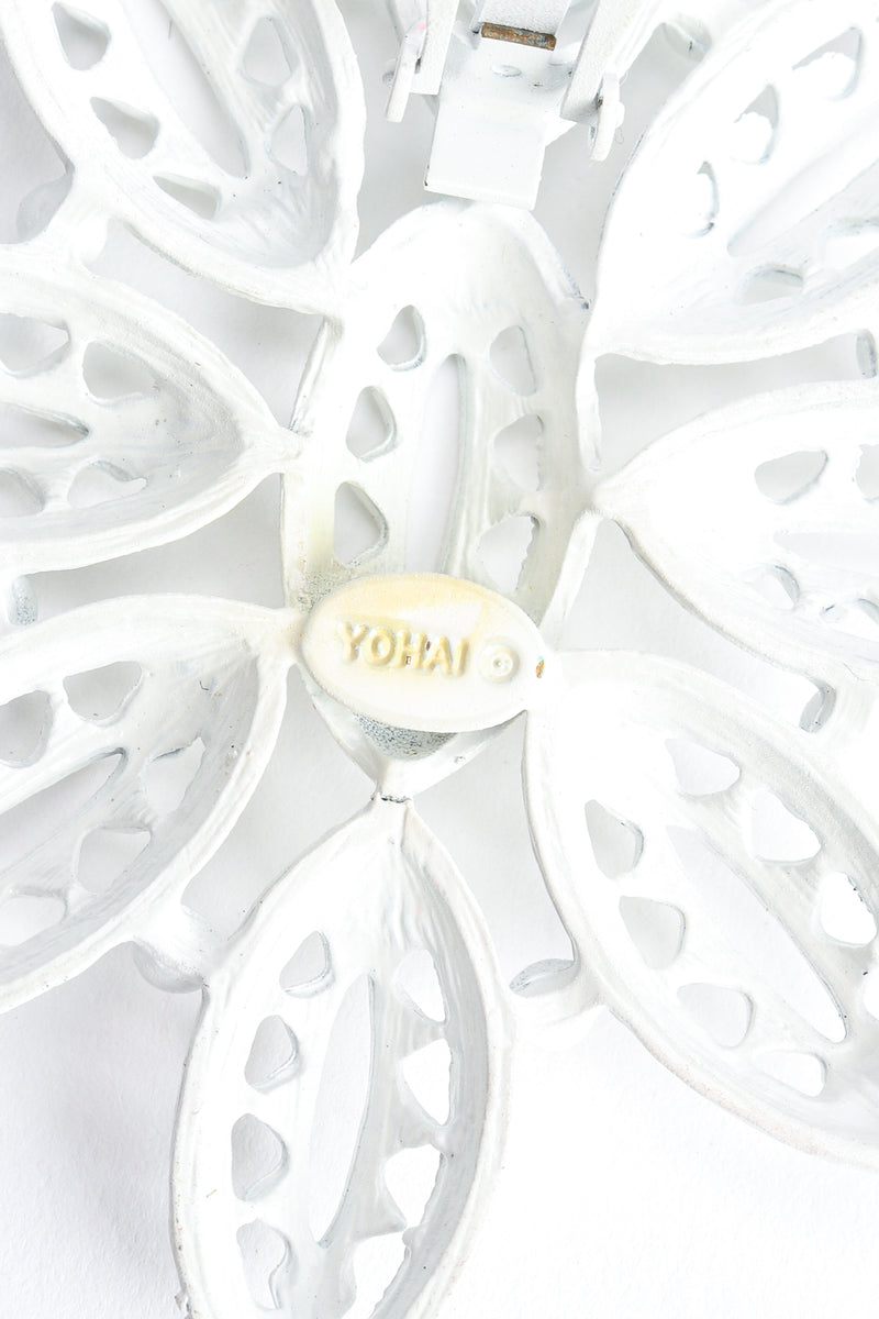 Vintage Yohai White Flower Fringe Earring signature cartouche at Recess Los Angeles