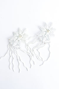 Vintage Yohai White Flower Fringe Earring at Recess Los Angeles
