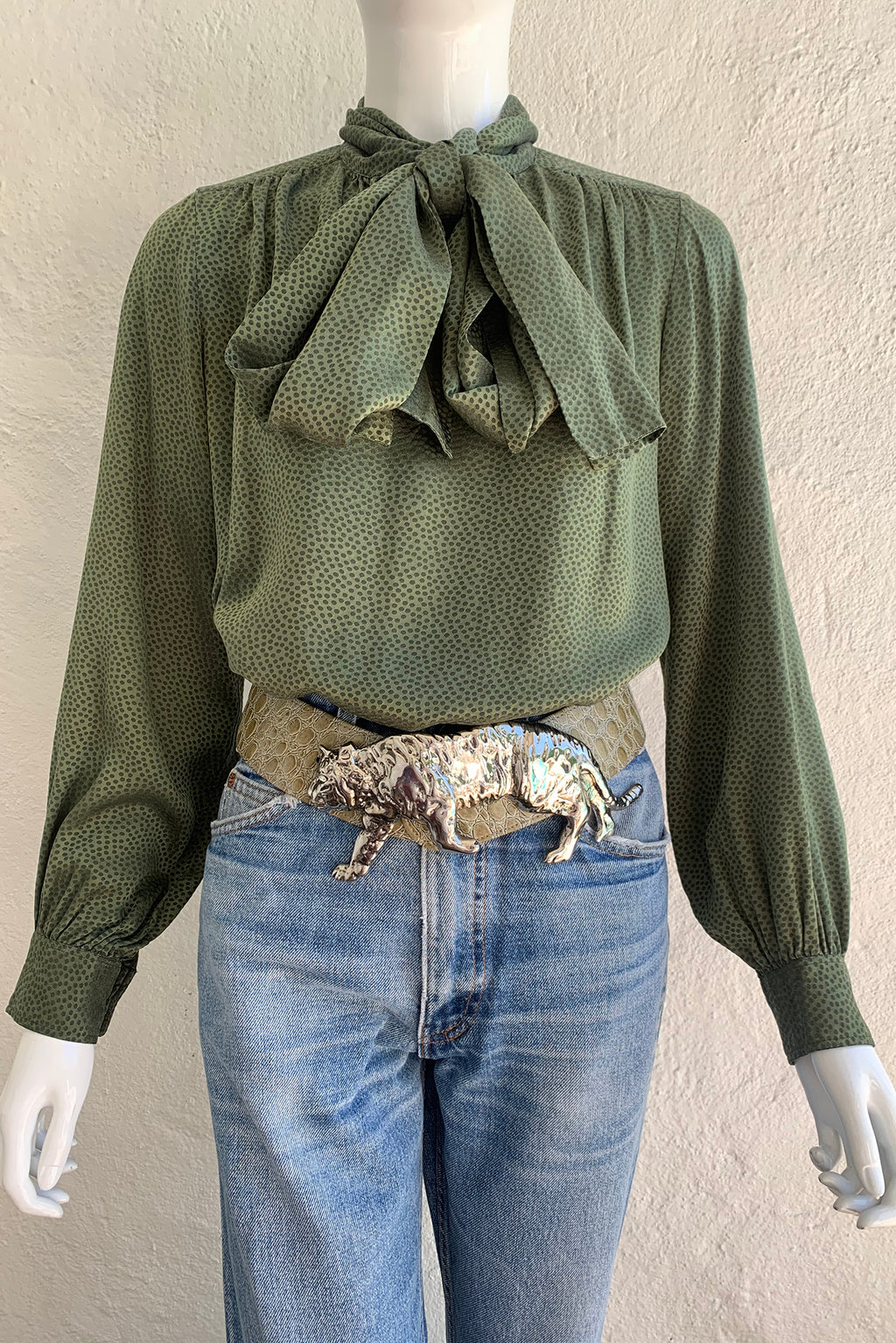 Vintage Yves Saint Laurent YSL Dotted Silk Bow Blouse styled on Mannequin front crop at Recess
