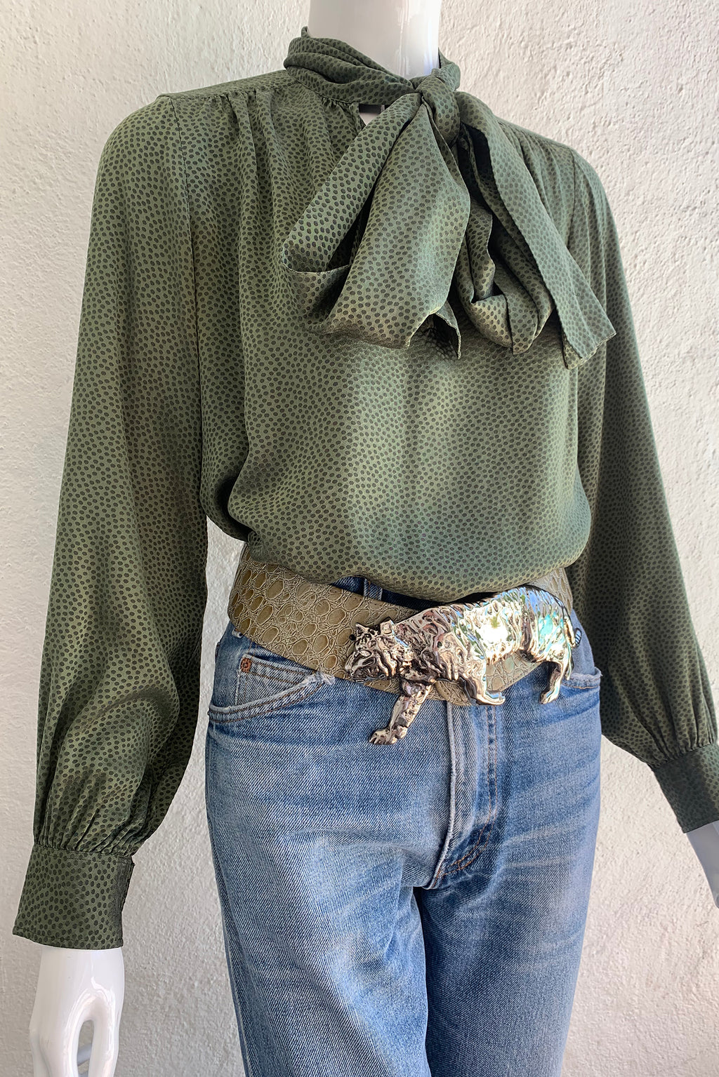 Vintage Yves Saint Laurent YSL Dotted Silk Bow Blouse styled on Mannequin Angle crop at Recess LA