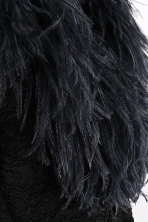 Vintage Yves Saint Laurent YSL Ostrich Feather Crinkle Coat feather detail at Recess LA