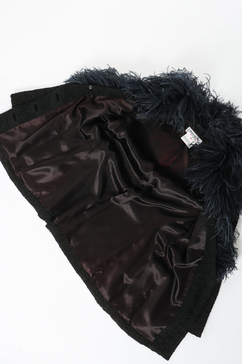 Vintage Yves Saint Laurent YSL Ostrich Feather Crinkle Coat lining at Recess LA