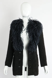 Vintage Yves Saint Laurent YSL Ostrich Feather Crinkle Coat on Mannequin front open at Recess LA