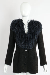 Vintage Yves Saint Laurent YSL Ostrich Feather Crinkle Coat on Mannequin front at Recess LA