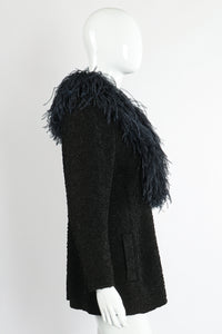 Vintage Yves Saint Laurent YSL Ostrich Feather Crinkle Coat on Mannequin side at Recess LA