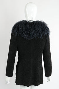 Vintage Yves Saint Laurent YSL Ostrich Feather Crinkle Coat on Mannequin back at Recess LA