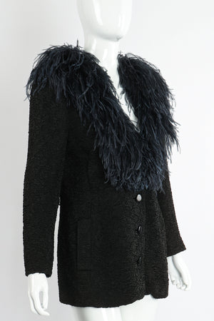 Vintage Yves Saint Laurent YSL Ostrich Feather Crinkle Coat on Mannequin angle at Recess LA