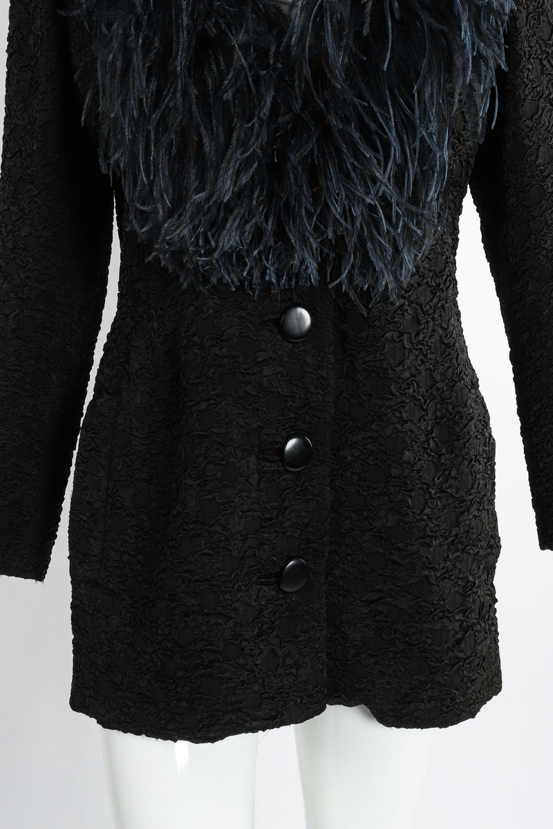 Vintage Yves Saint Laurent YSL Ostrich Feather Crinkle Coat on Mannequin waist at Recess LA