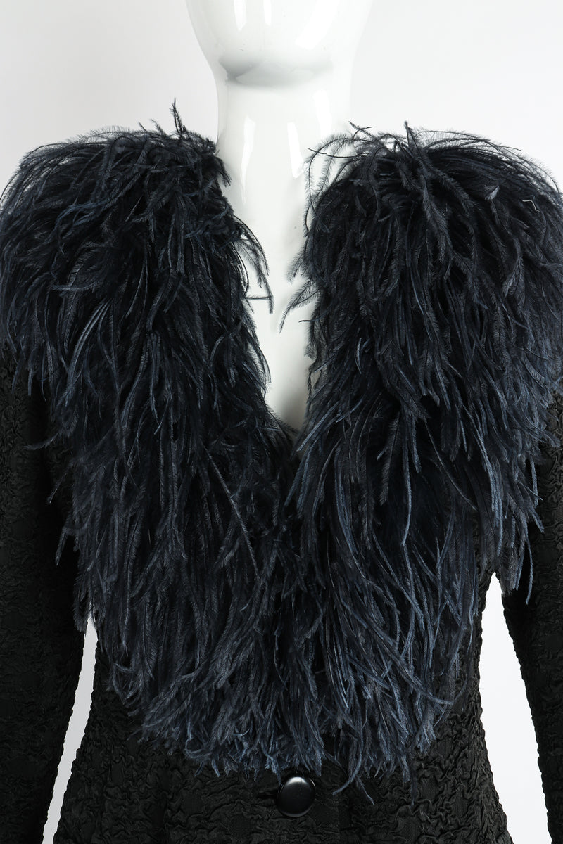 Vintage Yves Saint Laurent YSL Ostrich Feather Crinkle Coat on Mannequin neckline at Recess LA