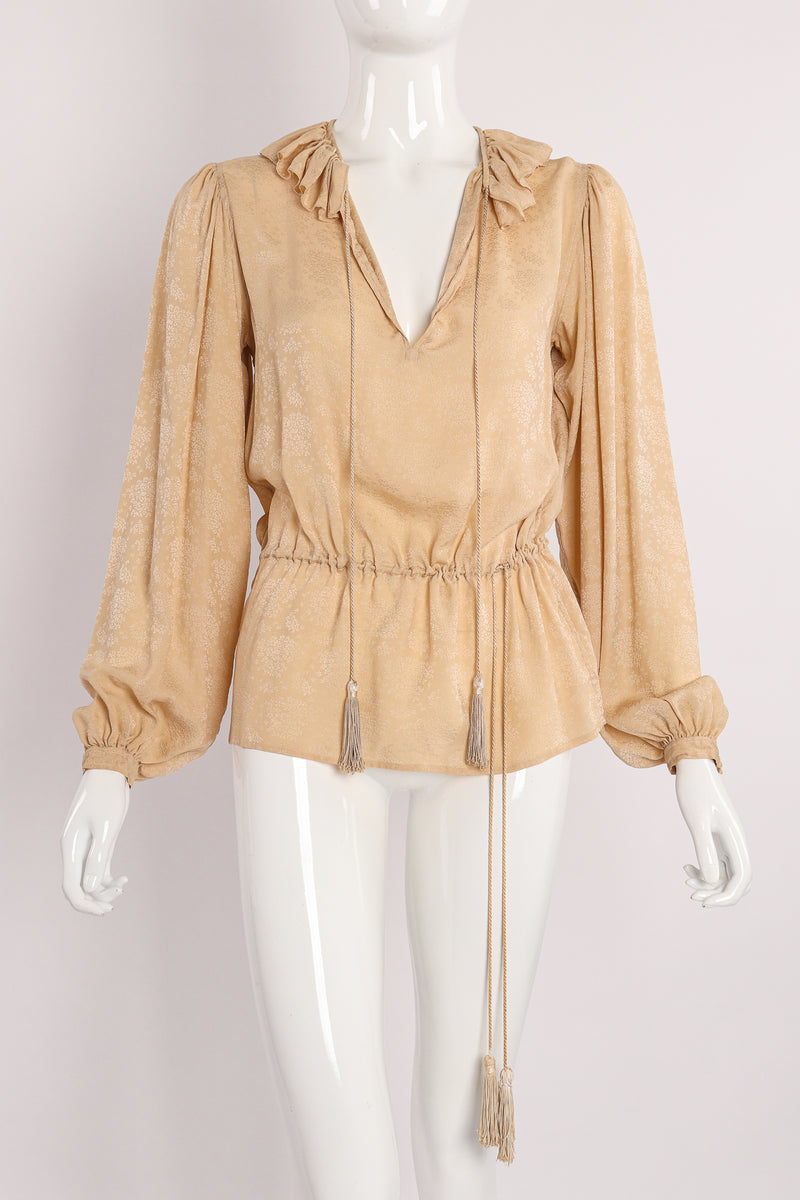 Vintage Yves Saint Laurent YSL Silk Peasant Blouse on Mannequin Front at Recess Los Angeles