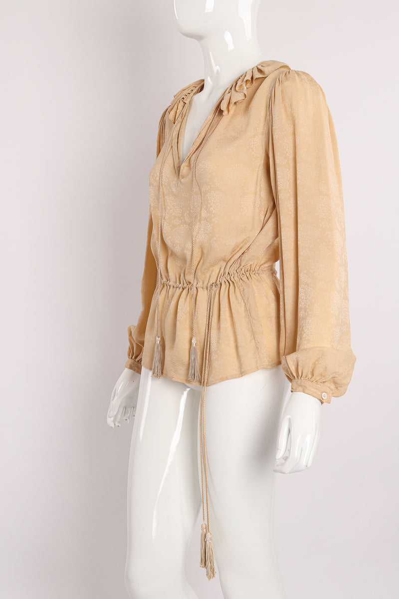 Vintage Yves Saint Laurent YSL Silk Peasant Blouse on Mannequin angle at Recess Los Angeles