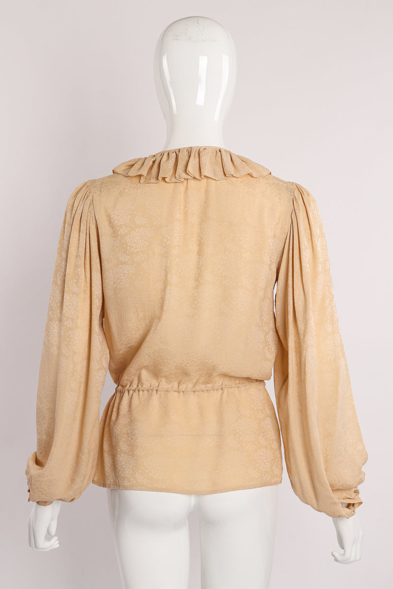 Vintage Yves Saint Laurent YSL Silk Peasant Blouse on Mannequin back at Recess Los Angeles