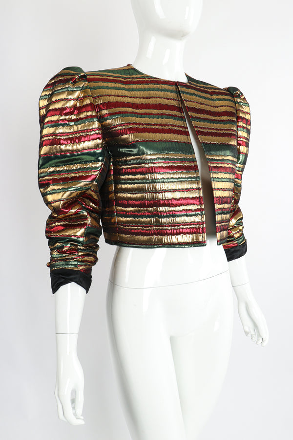 Vintage Yves Saint Laurent Silk Stripe Bolero Jacket on Mannequin Angle at Recess Los Angeles