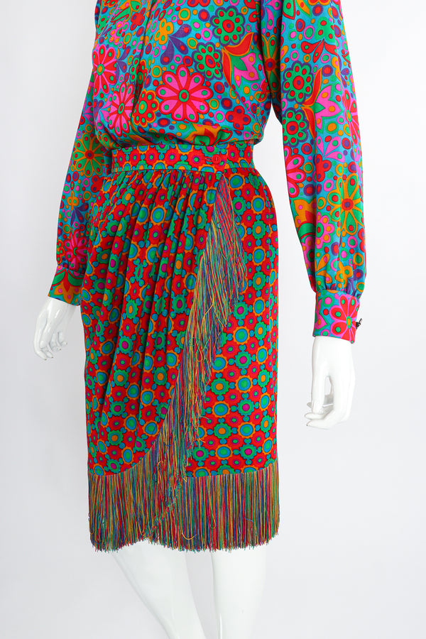 Vintage Yves Saint Laurent YSL 1990 91 Runway Floral Fringe Skirt Set on Mannequin crop at Recess