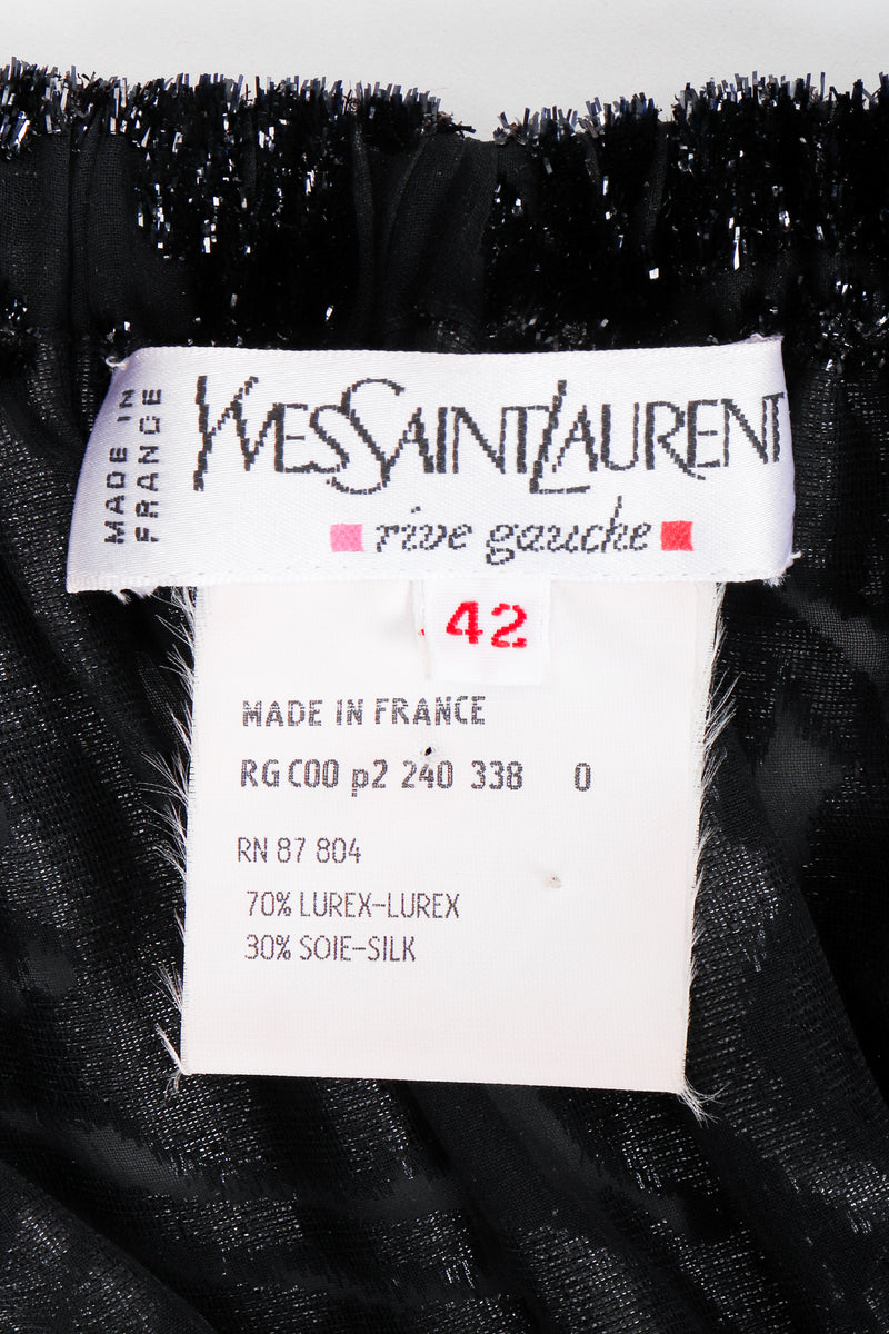 Vintage YSL Yves Saint Laurent Sheer Lamé Peasant Dress label at Recess