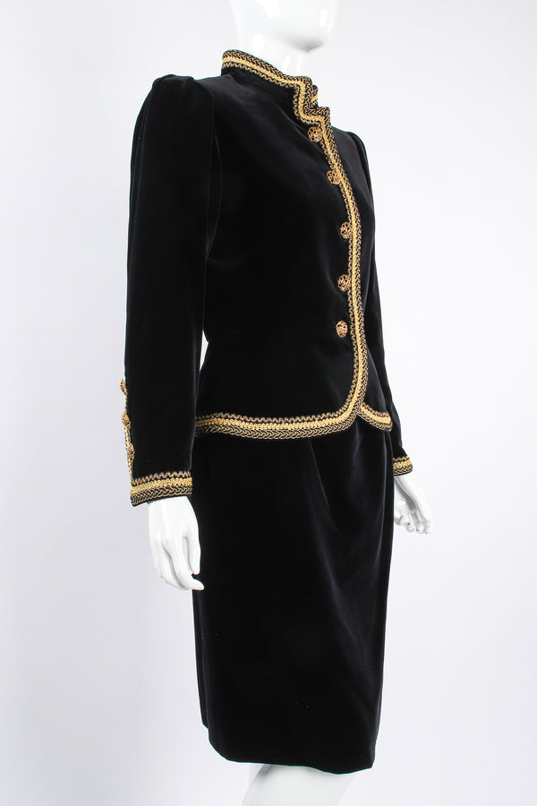 Vintage YSL Yves Saint Laurent Velvet Jacket & Skirt Set Russian on mannequin angle at Recess LA