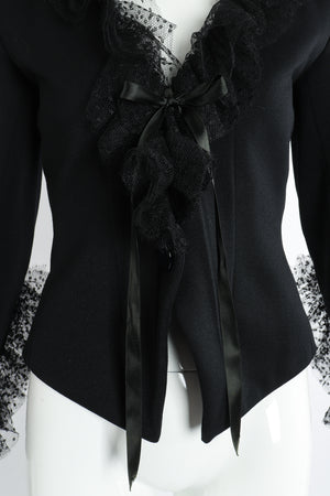 Vintage Yves Saint Laurent YSL Tulle Ruffle Collar Jacket on Mannequin waist at Recess Los Angeles