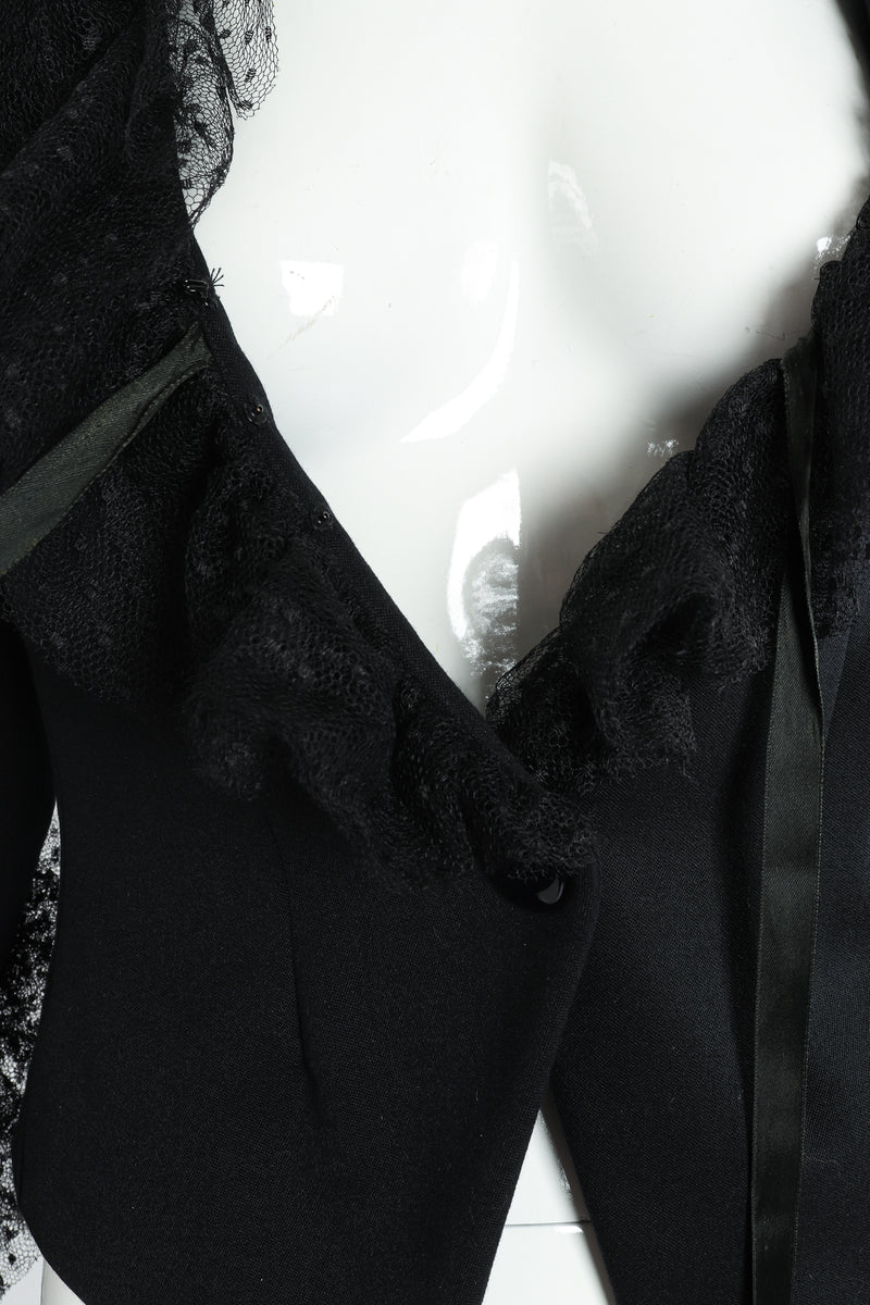 Vintage Yves Saint Laurent YSL Tulle Ruffle Collar Jacket front closure  at Recess LA
