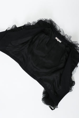 Vintage Yves Saint Laurent YSL Tulle Ruffle Collar Jacket Lining  at Recess LA
