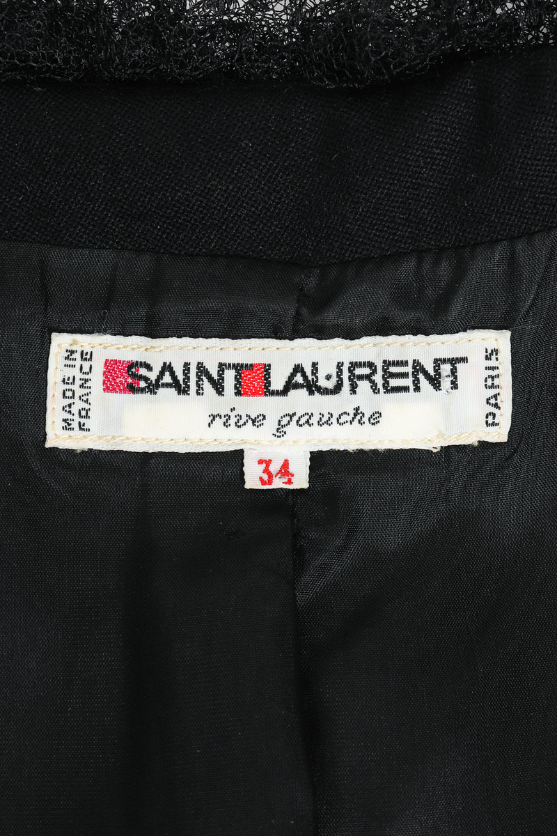 Vintage Yves Saint Laurent YSL Tulle Ruffle Collar Jacket Label  at Recess LA