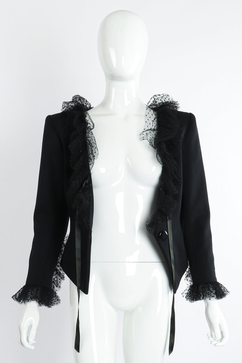 Vintage Yves Saint Laurent YSL Tulle Ruffle Collar Jacket on Mannequin Open at Recess LA